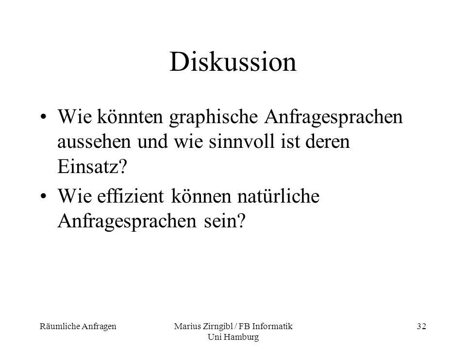 Räumliche AnfragenMarius Zirngibl / FB Informatik Uni Hamburg 32 Diskussion Wie könnten graphische Anfragesprachen aussehen und wie sinnvoll ist deren