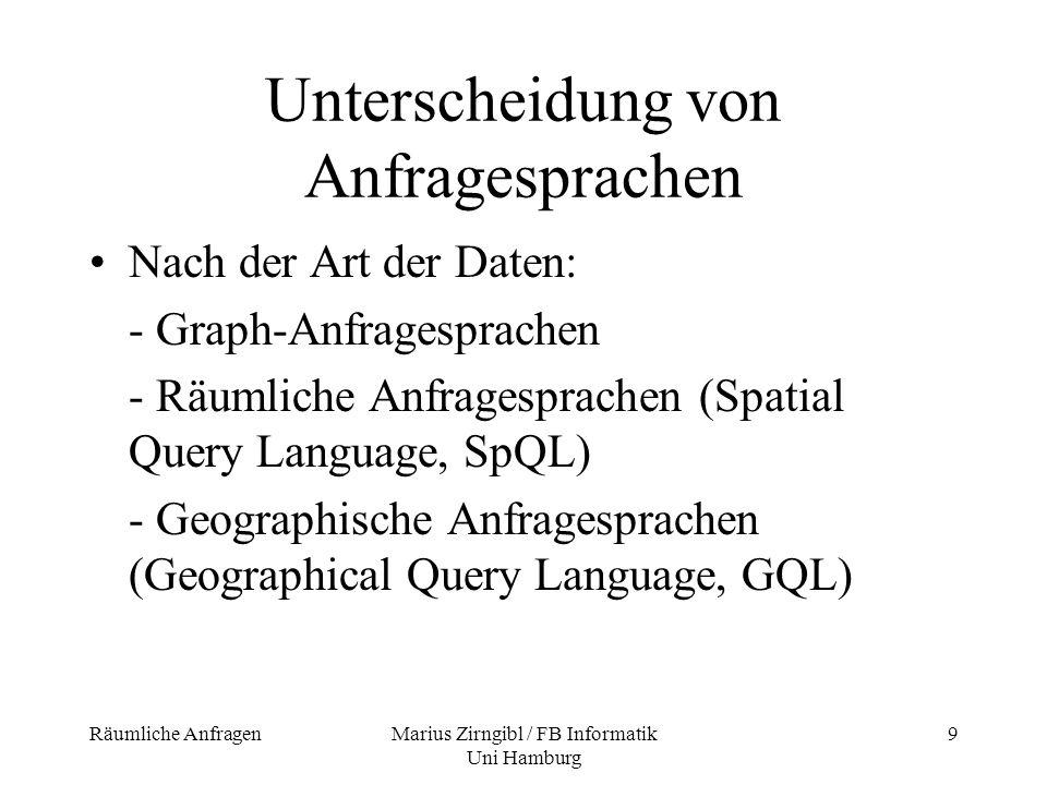 Räumliche AnfragenMarius Zirngibl / FB Informatik Uni Hamburg 10 GEOQL – Beispiel einer formalen geographischen Anfragesprache GEOQL ist eine Erweiterung von SQL Funktionalität und Syntax sehr ähnlich SQL Zusätzlich spezielle räumliche Operatoren