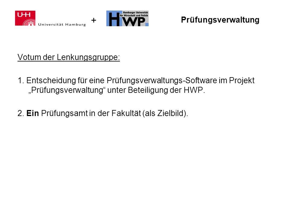 + Prüfungsverwaltung Votum der Lenkungsgruppe: 1. Entscheidung für eine Prüfungsverwaltungs-Software im Projekt Prüfungsverwaltung unter Beteiligung d