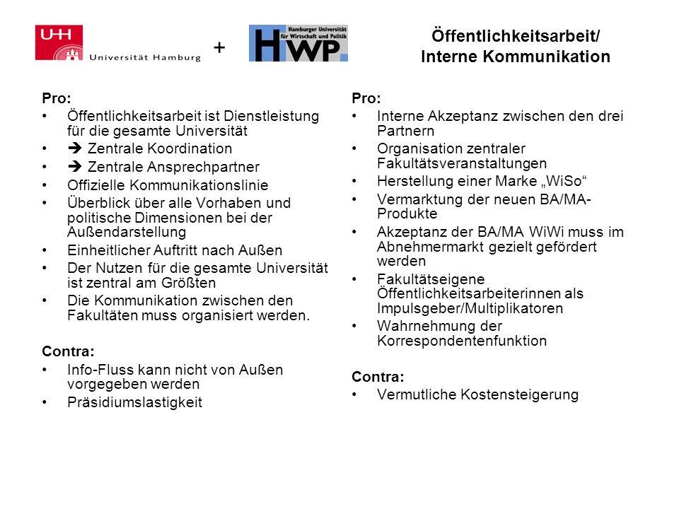 + Öffentlichkeitsarbeit/ Interne Kommunikation Pro: Öffentlichkeitsarbeit ist Dienstleistung für die gesamte Universität Zentrale Koordination Zentral