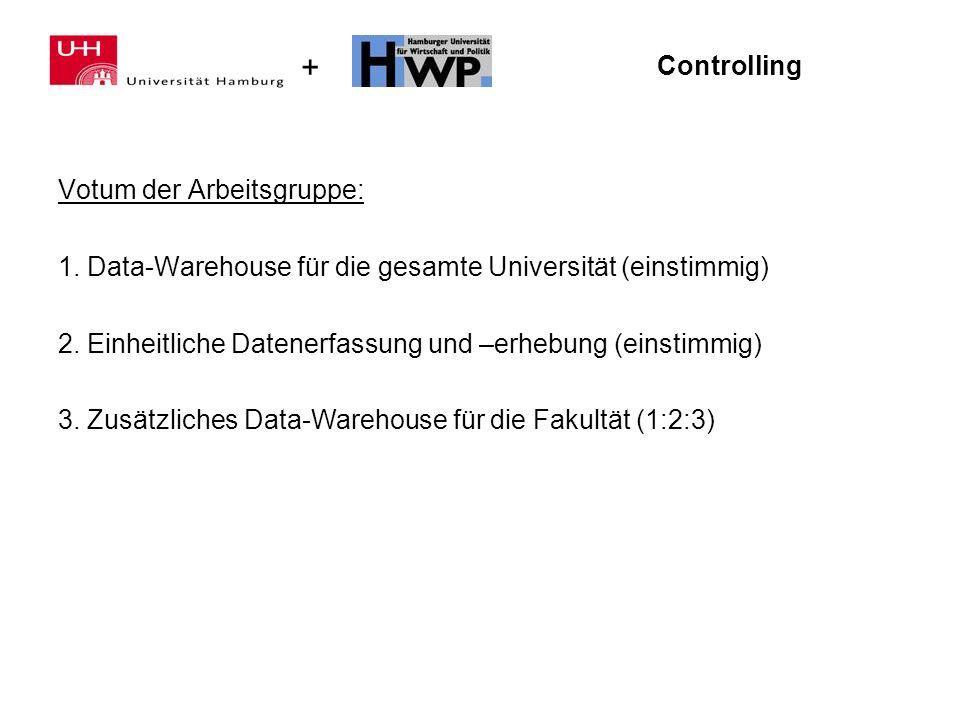 + Controlling Votum der Arbeitsgruppe: 1. Data-Warehouse für die gesamte Universität (einstimmig) 2. Einheitliche Datenerfassung und –erhebung (einsti