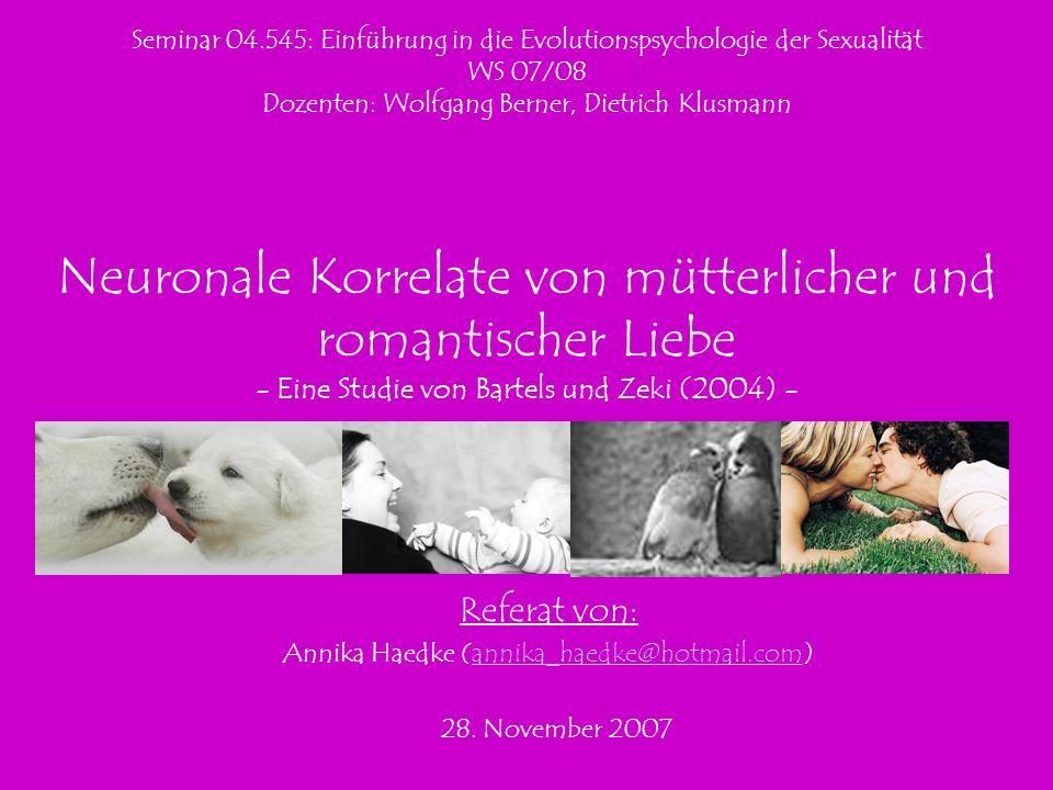 Seminar 04.545: Einführung in die Evolutionspsychologie der Sexualität WS 07/08 Dozenten: Wolfgang Berner, Dietrich Klusmann Neuronale Korrelate von m