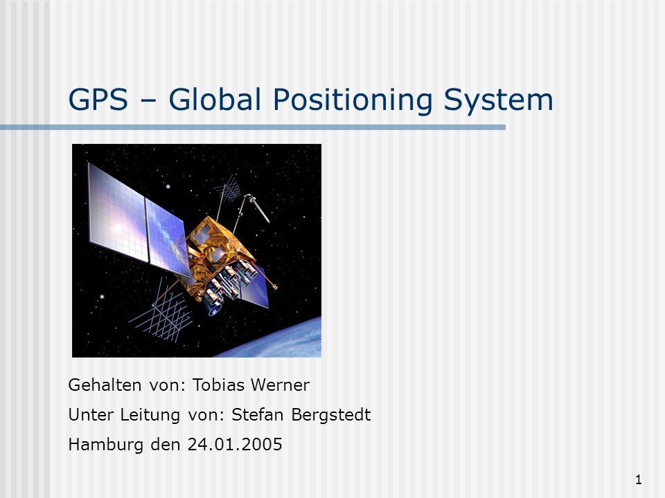 1 GPS – Global Positioning System Gehalten von: Tobias Werner Unter Leitung von: Stefan Bergstedt Hamburg den 24.01.2005