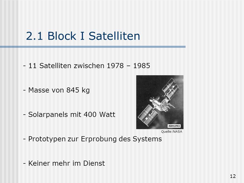 12 2.1 Block I Satelliten - 11 Satelliten zwischen 1978 – 1985 - Masse von 845 kg - Solarpanels mit 400 Watt - Prototypen zur Erprobung des Systems -