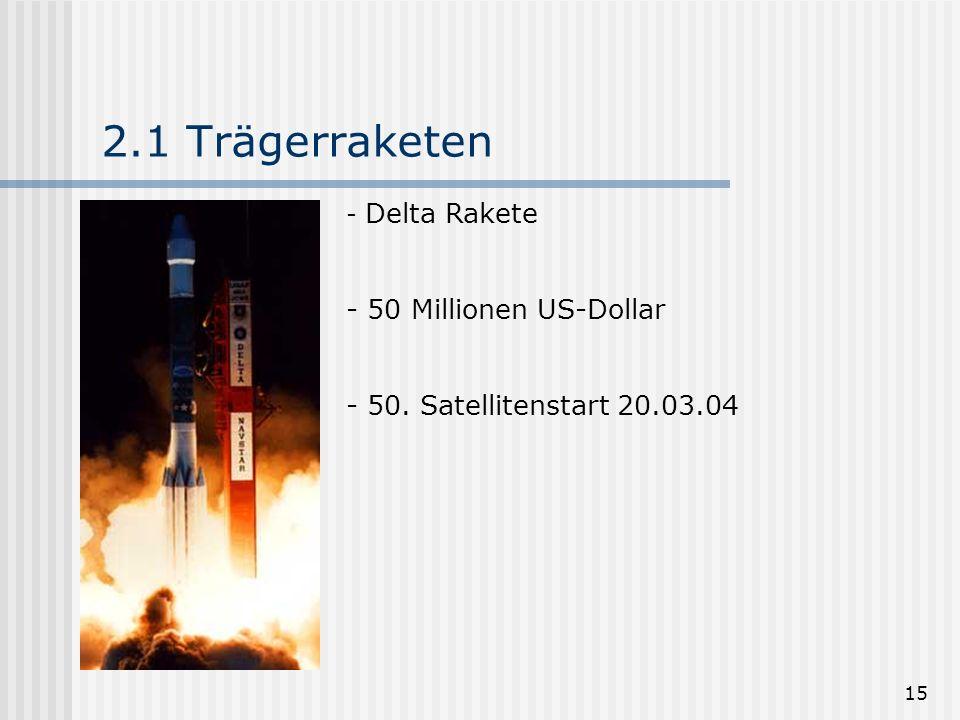 15 2.1 Trägerraketen - Delta Rakete - 50 Millionen US-Dollar - 50. Satellitenstart 20.03.04