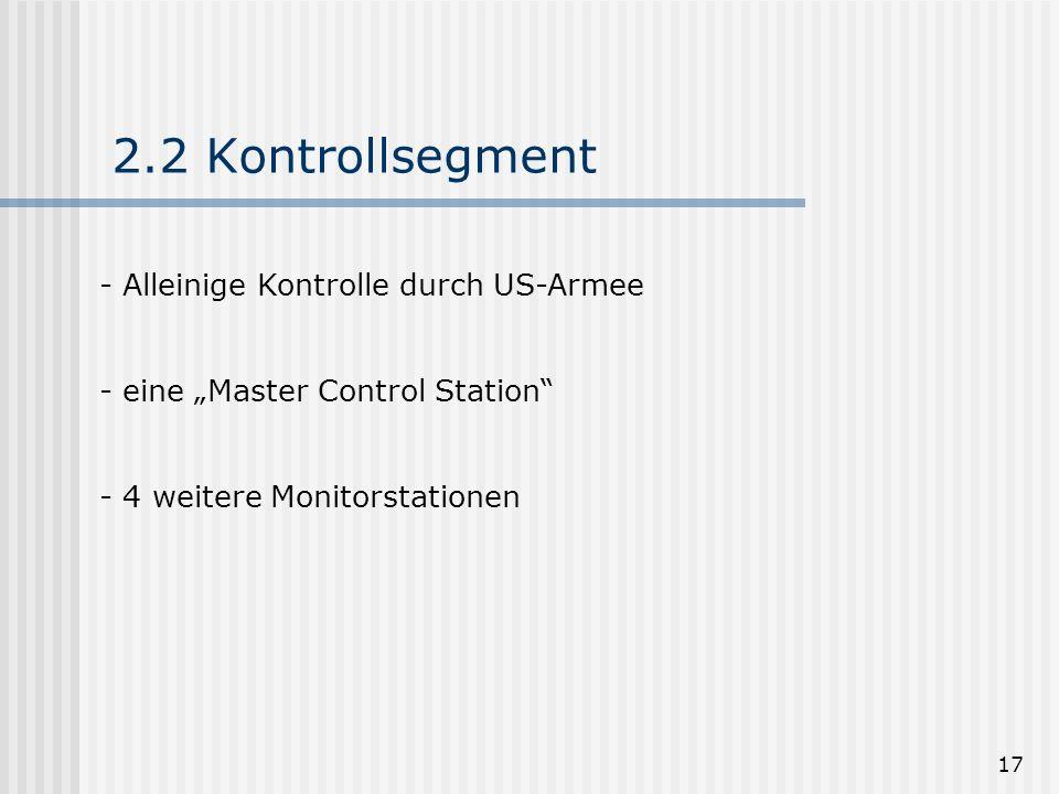 17 2.2 Kontrollsegment - Alleinige Kontrolle durch US-Armee - eine Master Control Station - 4 weitere Monitorstationen