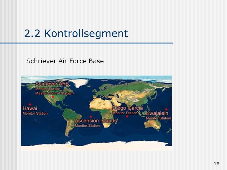18 2.2 Kontrollsegment - Schriever Air Force Base