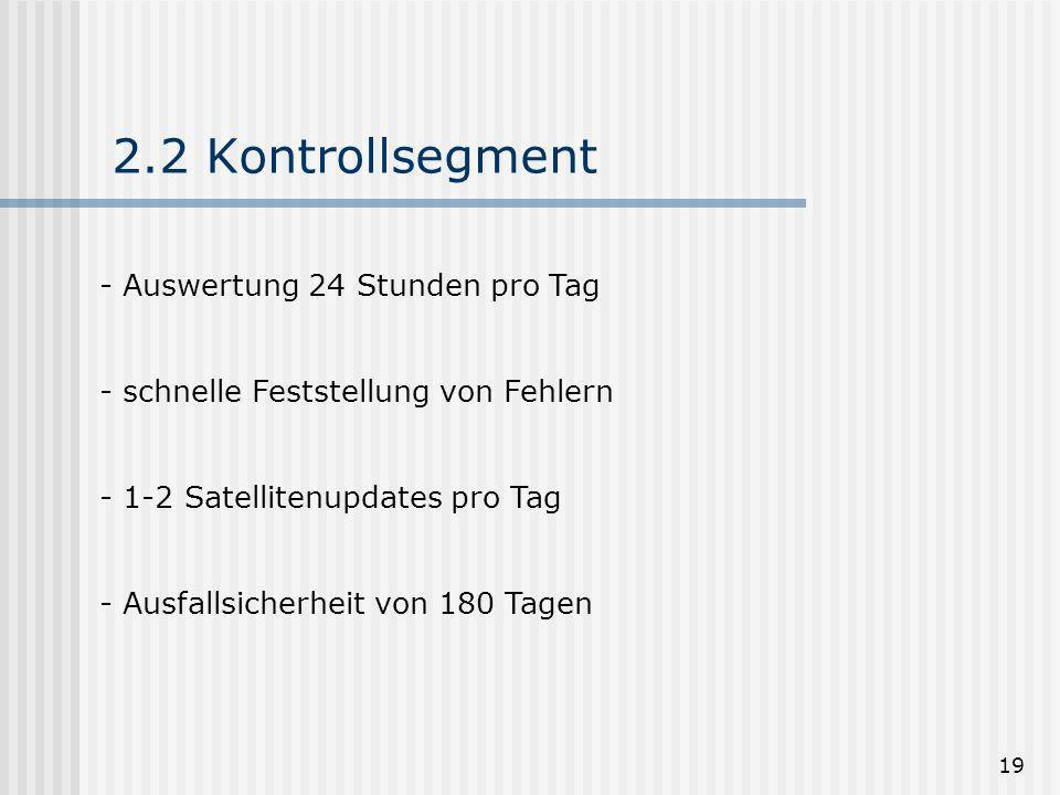 19 2.2 Kontrollsegment - Auswertung 24 Stunden pro Tag - schnelle Feststellung von Fehlern - 1-2 Satellitenupdates pro Tag - Ausfallsicherheit von 180