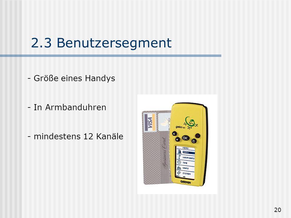 20 2.3 Benutzersegment - Größe eines Handys - In Armbanduhren - mindestens 12 Kanäle