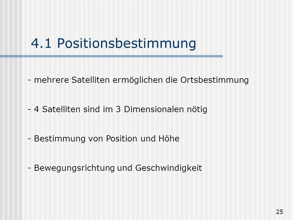 25 4.1 Positionsbestimmung - mehrere Satelliten ermöglichen die Ortsbestimmung - 4 Satelliten sind im 3 Dimensionalen nötig - Bestimmung von Position