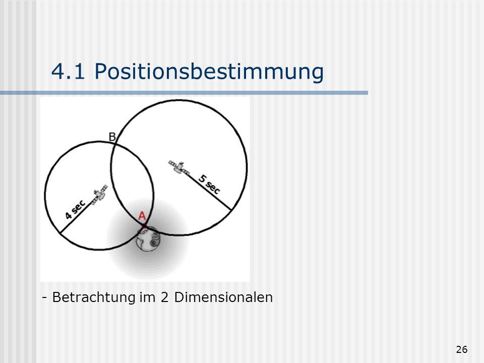 26 4.1 Positionsbestimmung - Betrachtung im 2 Dimensionalen
