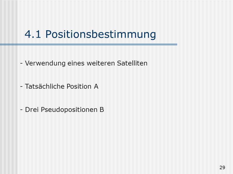 29 4.1 Positionsbestimmung - Verwendung eines weiteren Satelliten - Tatsächliche Position A - Drei Pseudopositionen B