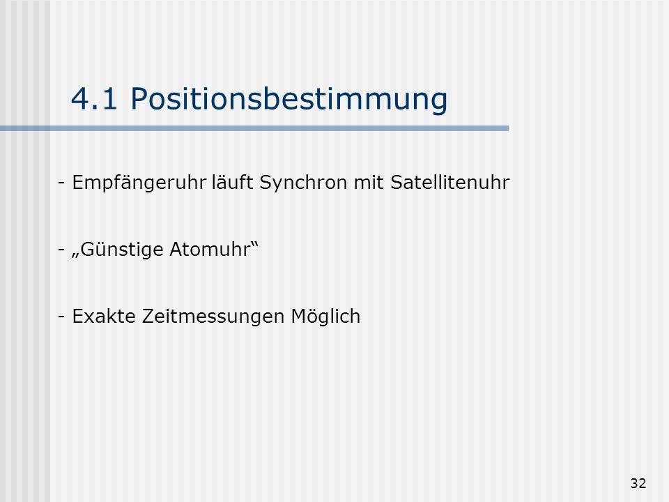 32 4.1 Positionsbestimmung - Empfängeruhr läuft Synchron mit Satellitenuhr - Günstige Atomuhr - Exakte Zeitmessungen Möglich
