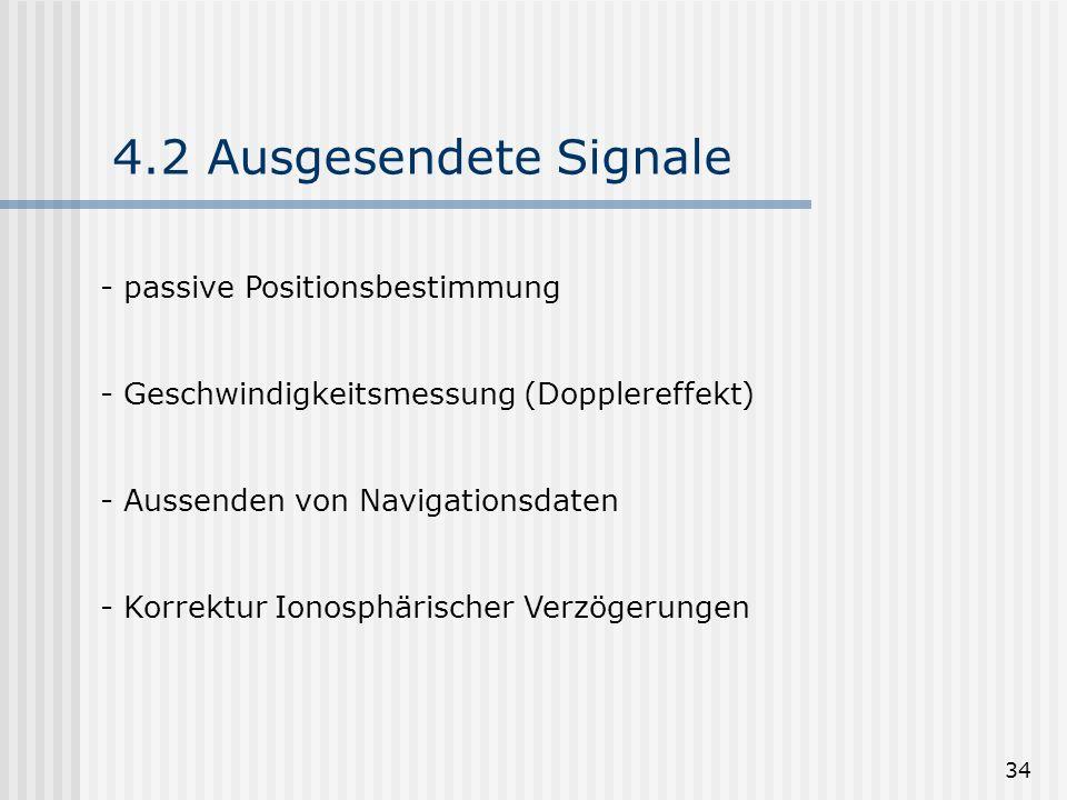 34 4.2 Ausgesendete Signale - passive Positionsbestimmung - Geschwindigkeitsmessung (Dopplereffekt) - Aussenden von Navigationsdaten - Korrektur Ionos