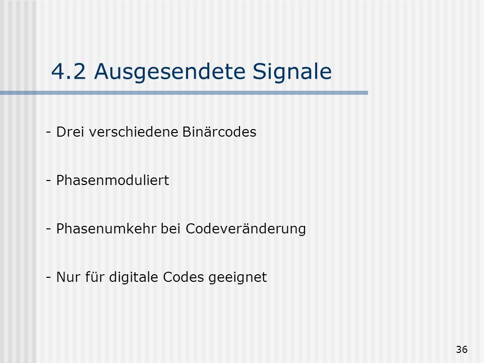 36 4.2 Ausgesendete Signale - Drei verschiedene Binärcodes - Phasenmoduliert - Phasenumkehr bei Codeveränderung - Nur für digitale Codes geeignet
