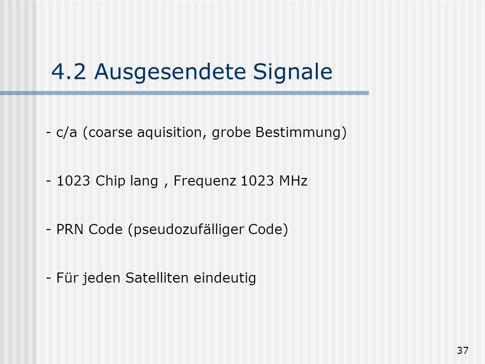 37 4.2 Ausgesendete Signale - c/a (coarse aquisition, grobe Bestimmung) - 1023 Chip lang, Frequenz 1023 MHz - PRN Code (pseudozufälliger Code) - Für j