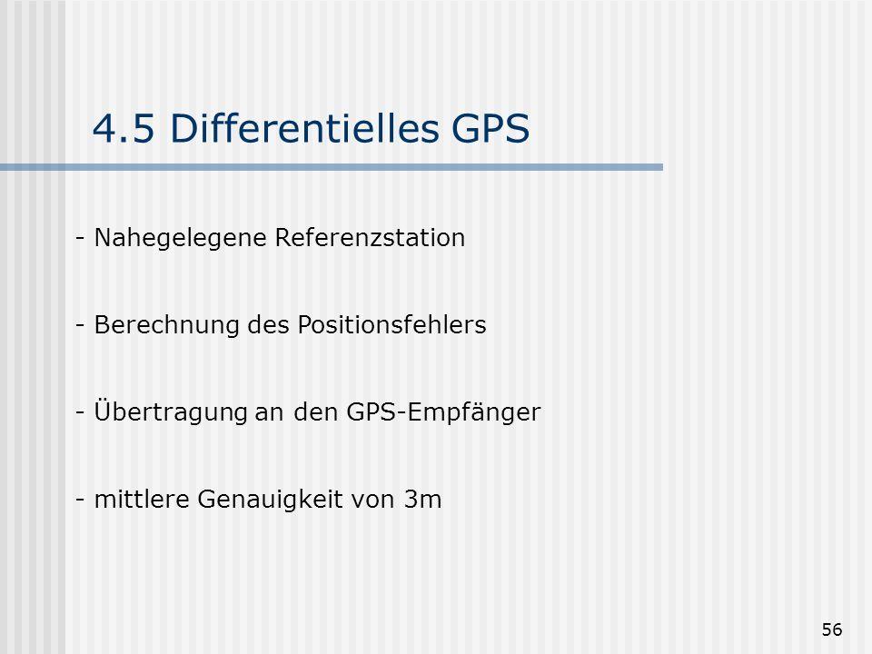 56 4.5 Differentielles GPS - Nahegelegene Referenzstation - Berechnung des Positionsfehlers - Übertragung an den GPS-Empfänger - mittlere Genauigkeit