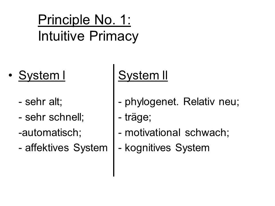 Principle No. 1: Intuitive Primacy System lSystem ll - sehr alt; - phylogenet. Relativ neu; - sehr schnell;- träge; -automatisch;- motivational schwac