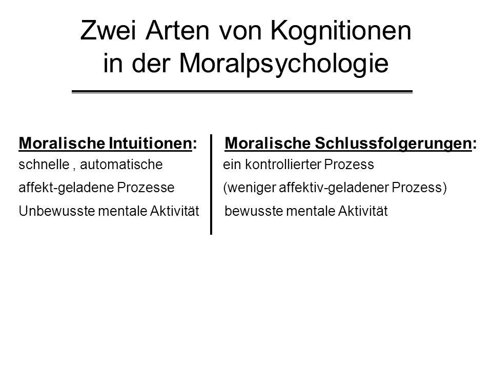 Zwei Arten von Kognitionen in der Moralpsychologie Moralische Intuitionen: Moralische Schlussfolgerungen: schnelle, automatische ein kontrollierter Pr