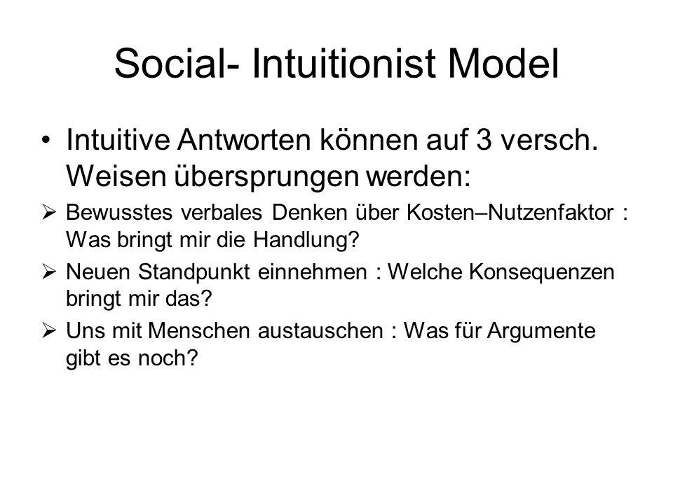 Social- Intuitionist Model Intuitive Antworten können auf 3 versch. Weisen übersprungen werden: Bewusstes verbales Denken über Kosten–Nutzenfaktor : W