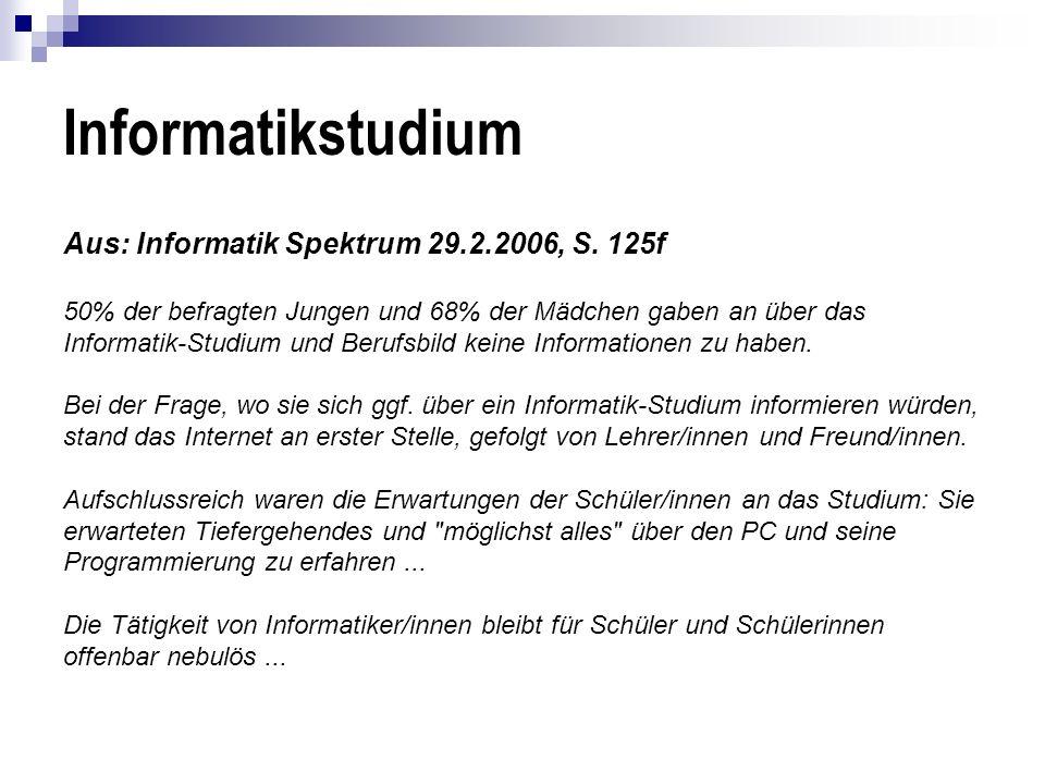 Informatikstudium Aus: Informatik Spektrum 29.2.2006, S. 125f 50% der befragten Jungen und 68% der Mädchen gaben an über das Informatik-Studium und Be