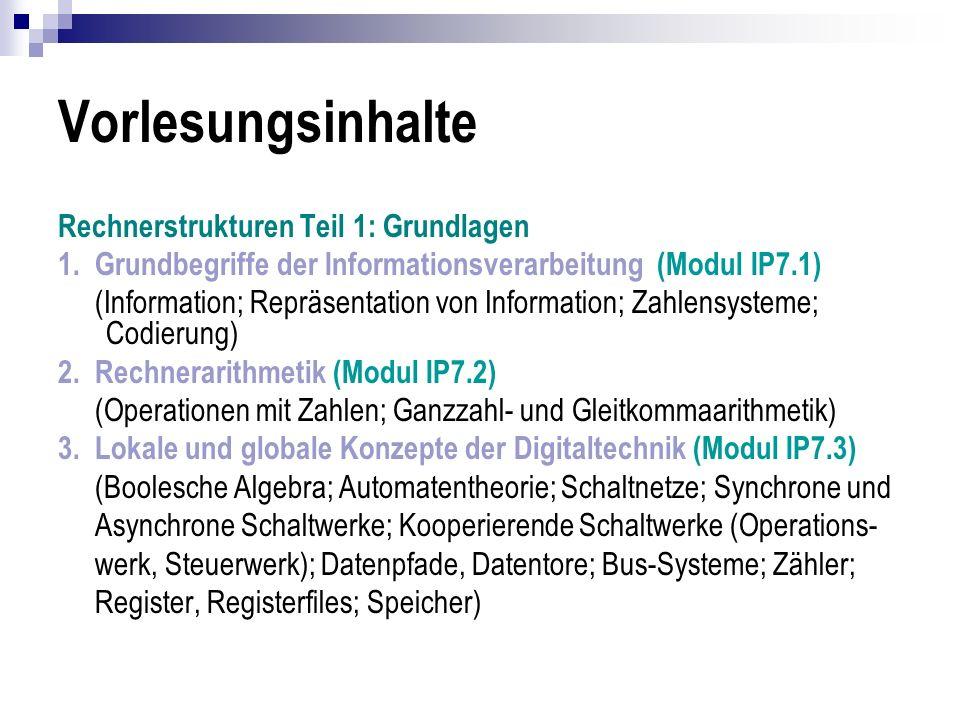 Vorlesungsinhalte Rechnerstrukturen Teil 1: Grundlagen 1. Grundbegriffe der Informationsverarbeitung (Modul IP7.1) (Information; Repräsentation von In