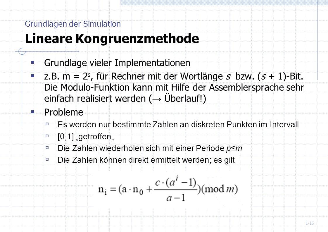 1-16 Grundlage vieler Implementationen z.B. m = 2 s, für Rechner mit der Wortlänge s bzw. (s + 1)-Bit. Die Modulo-Funktion kann mit Hilfe der Assemble