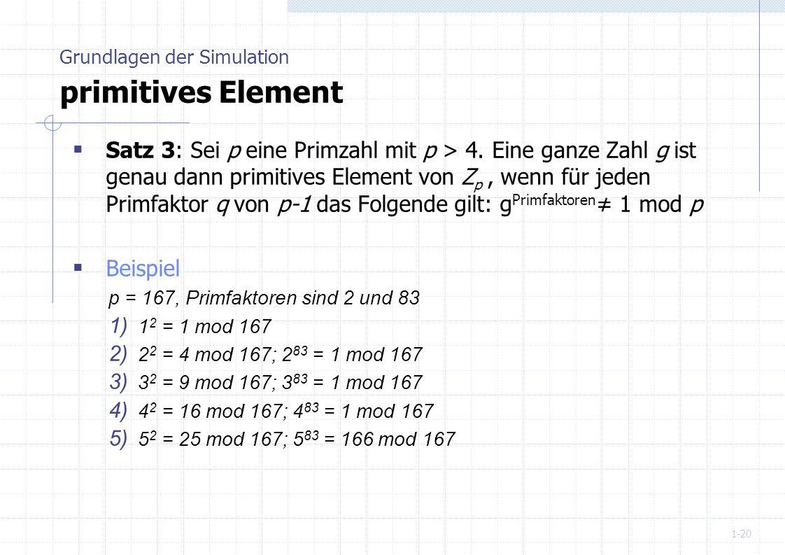 1-20 Satz 3: Sei p eine Primzahl mit p > 4. Eine ganze Zahl g ist genau dann primitives Element von Z p, wenn für jeden Primfaktor q von p-1 das Folge