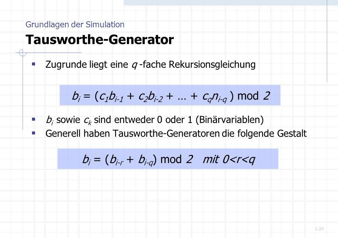 1-24 Zugrunde liegt eine q -fache Rekursionsgleichung b i sowie c k sind entweder 0 oder 1 (Binärvariablen) Generell haben Tausworthe-Generatoren die