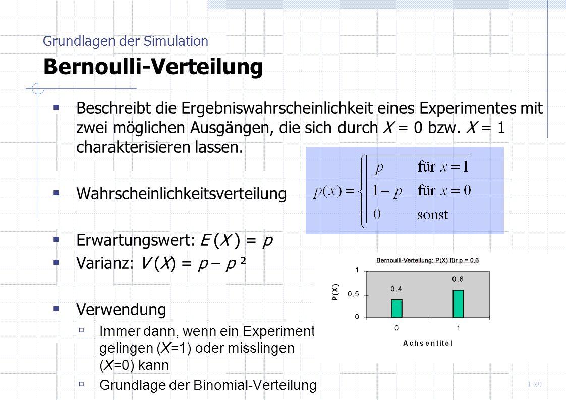 1-39 Beschreibt die Ergebniswahrscheinlichkeit eines Experimentes mit zwei möglichen Ausgängen, die sich durch X = 0 bzw. X = 1 charakterisieren lasse