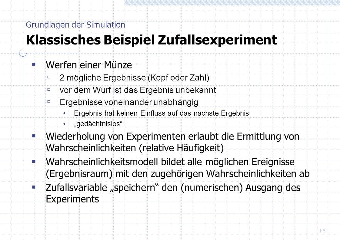 1-36 Der Erwartungswert µ oder E (X) einer Zufallsvariable X gibt den Wert an, der sich bei einer häufigen Wiederholung des Zufallsexperiments einstellen wird Grundlagen der Simulation Erwartungswert