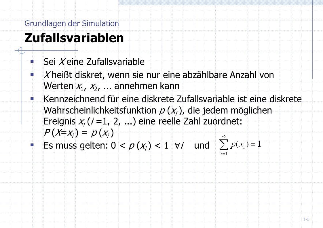 1-6 Sei X eine Zufallsvariable X heißt diskret, wenn sie nur eine abzählbare Anzahl von Werten x 1, x 2,... annehmen kann Kennzeichnend für eine diskr
