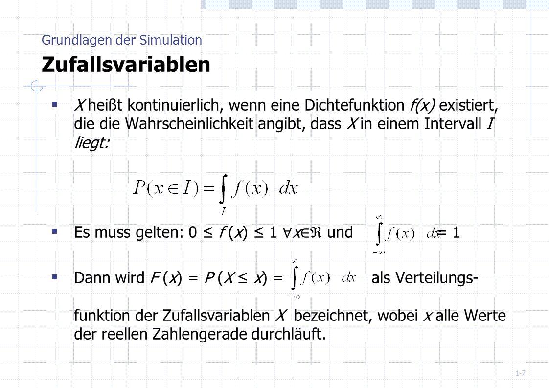 1-8 Zufallszahlen als Realisierung exogener stochastischer Variablen Stichprobe aus der Verteilung einer Variable Erzeugung Mechanisch erzeugte (echte) Zufallszahlen Beispiele: Würfel, Roulette, Ziehung der Lottozahlen Mit einem Digital-Computer erzeugte Pseudozufallszahlen deterministischer Algorithmus (reproduzierbar) Ziele: Gleichverteilung, keine Korrelation, große Periodenlänge Grundlagen der Simulation Erzeugung von Zufallszahlen
