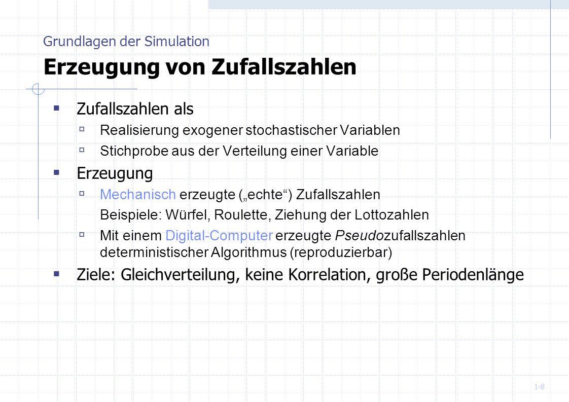 1-19 Satz 2: Ein auf der multiplikativen Kongruenzmethode basierender Zufallszahlengenerator ist genau dann ein full-period Generator, wenn gilt: Der größte gemeinsame Teiler von n 0 und m ist 1 (relativ prim) a ist primitives Element mod n Eine maximale Länge ist erreichbar, wenn m eine Primzahl ist Weitere Variante ist der Fibonacci-Generator Grundlagen der Simulation Multiplikative Kongruenzmethode n i+1 = (n i-1 + n i-1 ) mod m
