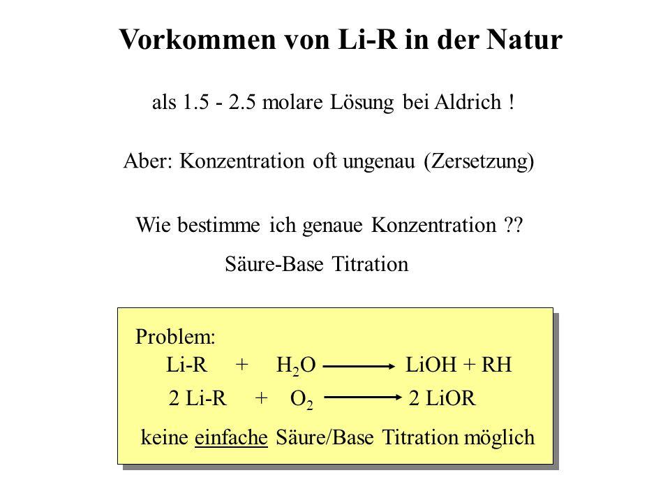 Vorkommen von Li-R in der Natur als 1.5 - 2.5 molare Lösung bei Aldrich ! Aber: Konzentration oft ungenau (Zersetzung) Wie bestimme ich genaue Konzent