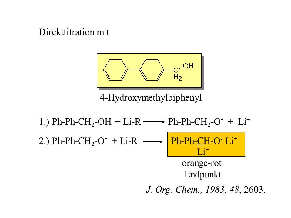orange-rot Endpunkt Direkttitration mit 4-Hydroxymethylbiphenyl 1.) Ph-Ph-CH 2 -OH + Li-R Ph-Ph-CH 2 -O - + Li + 2.) Ph-Ph-CH 2 -O - + Li-R Ph-Ph-CH-O
