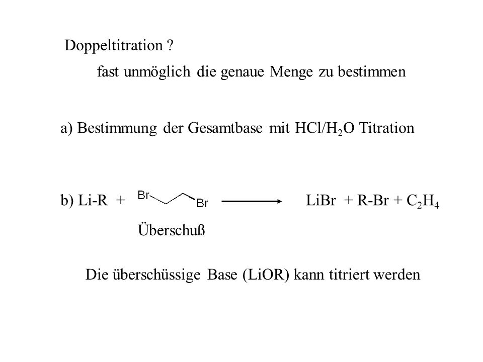 Doppeltitration ? fast unmöglich die genaue Menge zu bestimmen a) Bestimmung der Gesamtbase mit HCl/H 2 O Titration Überschuß b) Li-R +LiBr + R-Br + C