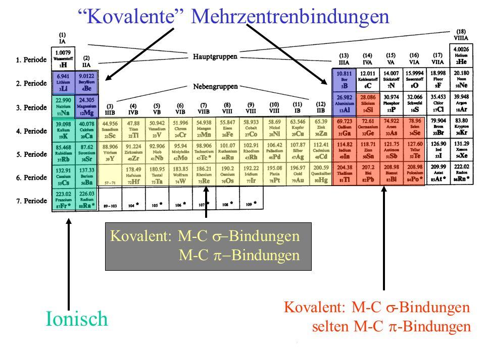 Kovalent: M-C Bindungen M-C Bindungen Ionisch Kovalente Mehrzentrenbindungen Kovalent: M-C -Bindungen selten M-C -Bindungen