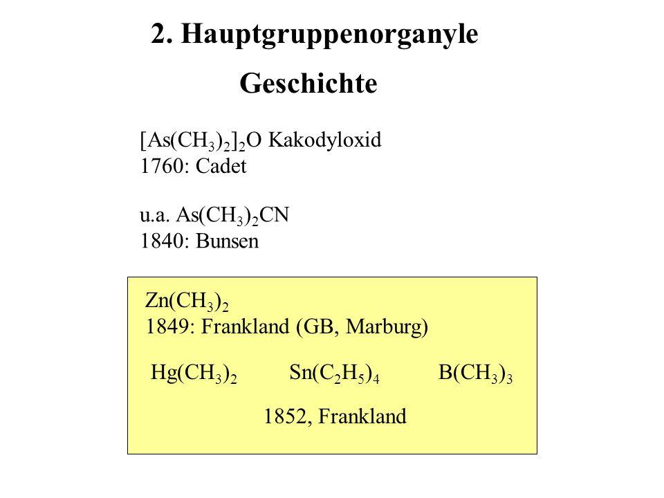 Geschichte Zn(CH 3 ) 2 1849: Frankland (GB, Marburg) Hg(CH 3 ) 2 Sn(C 2 H 5 ) 4 1852, Frankland B(CH 3 ) 3 [As(CH 3 ) 2 ] 2 O Kakodyloxid 1760: Cadet 2.