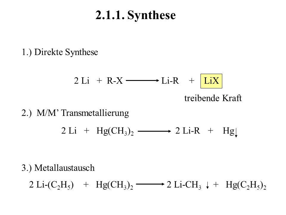 treibende Kraft 2.1.1. Synthese 1.) Direkte Synthese 2 Li + R-X Li-R + LiX 2.) M/M Transmetallierung 2 Li + Hg(CH 3 ) 2 2 Li-R + Hg 3.) Metallaustausc