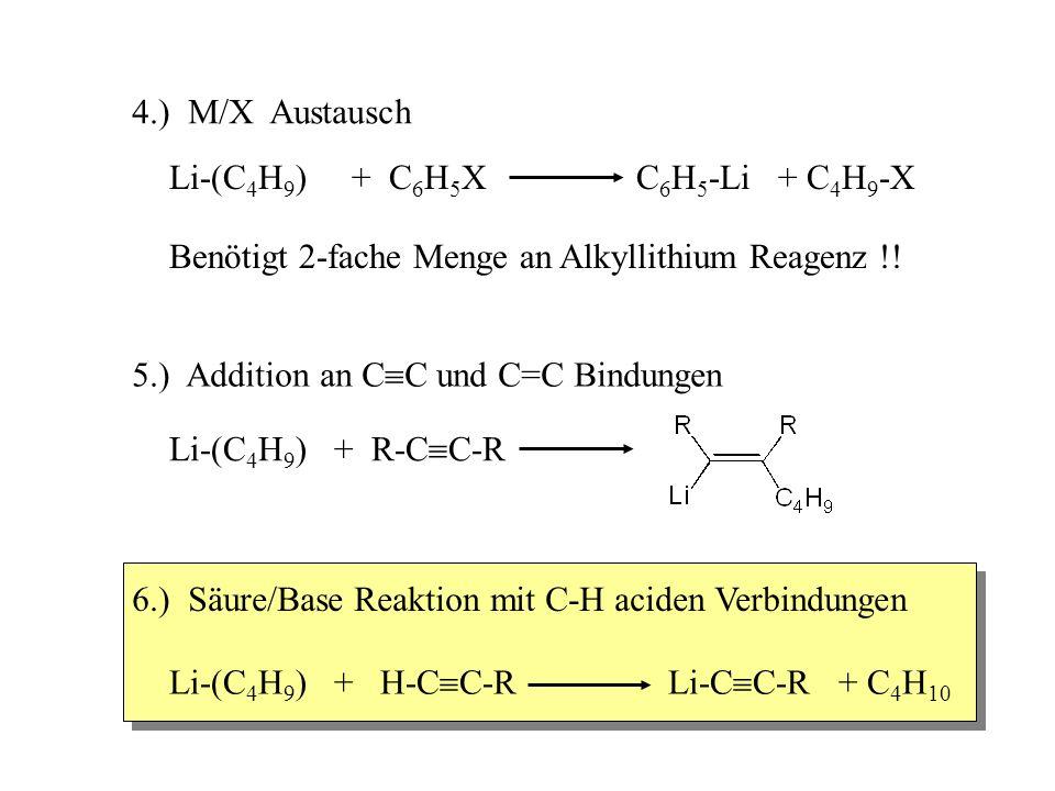 4.) M/X Austausch Li-(C 4 H 9 ) + C 6 H 5 X C 6 H 5 -Li + C 4 H 9 -X Benötigt 2-fache Menge an Alkyllithium Reagenz !! 6.) Säure/Base Reaktion mit C-H