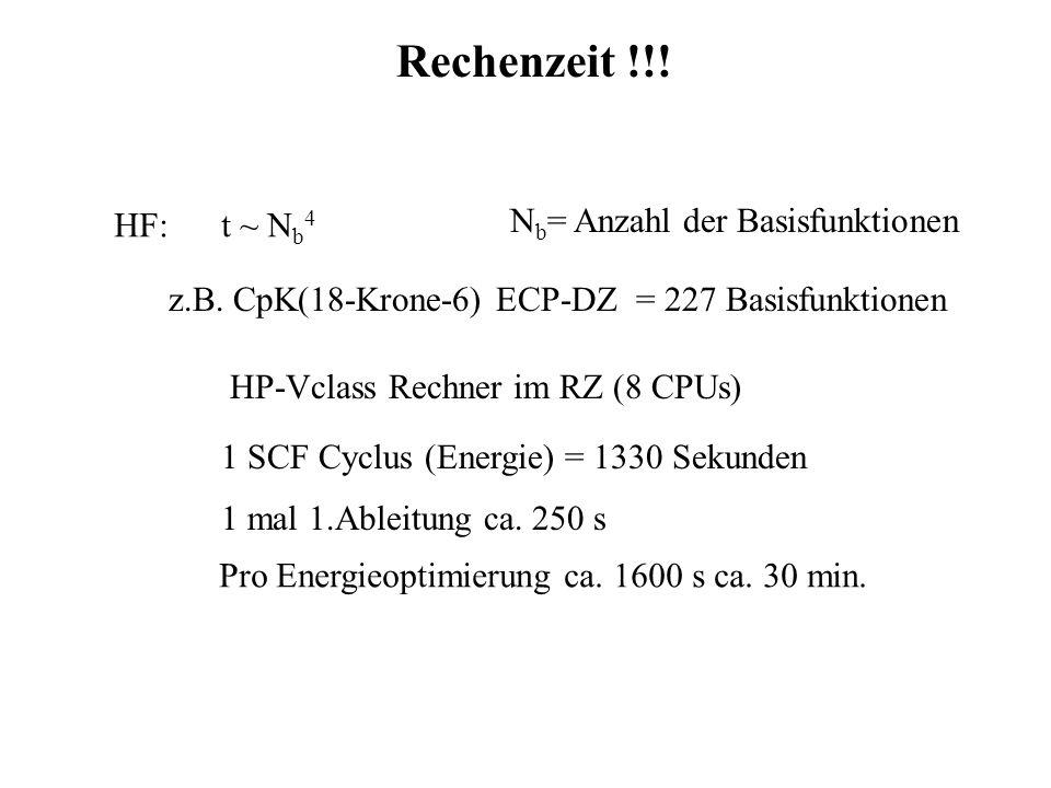 Rechenzeit !!! HF: t ~ N b 4 N b = Anzahl der Basisfunktionen z.B. CpK(18-Krone-6) ECP-DZ = 227 Basisfunktionen 1 SCF Cyclus (Energie) = 1330 Sekunden