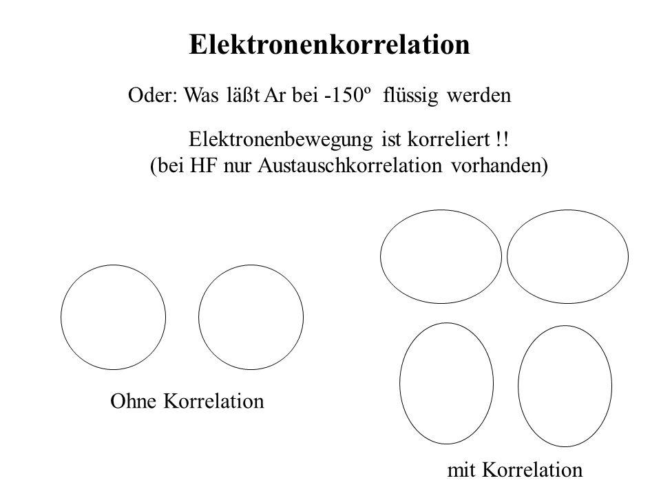 Elektronenkorrelation Oder: Was läßt Ar bei -150º flüssig werden Elektronenbewegung ist korreliert !! (bei HF nur Austauschkorrelation vorhanden) Ohne