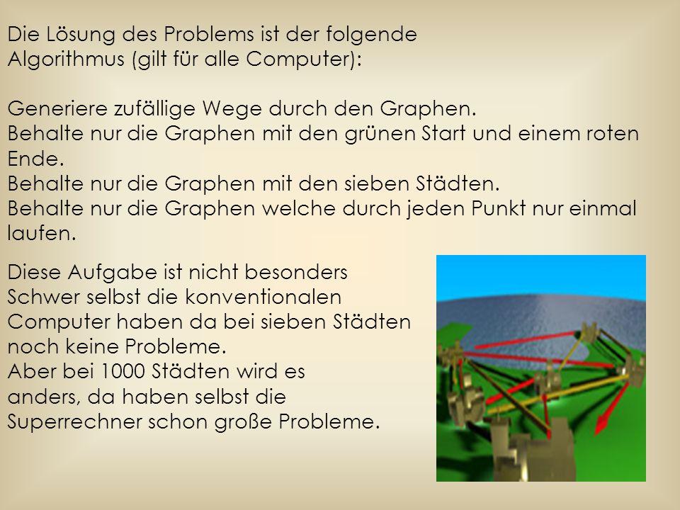 Die Lösung des Problems ist der folgende Algorithmus (gilt für alle Computer): Generiere zufällige Wege durch den Graphen. Behalte nur die Graphen mit