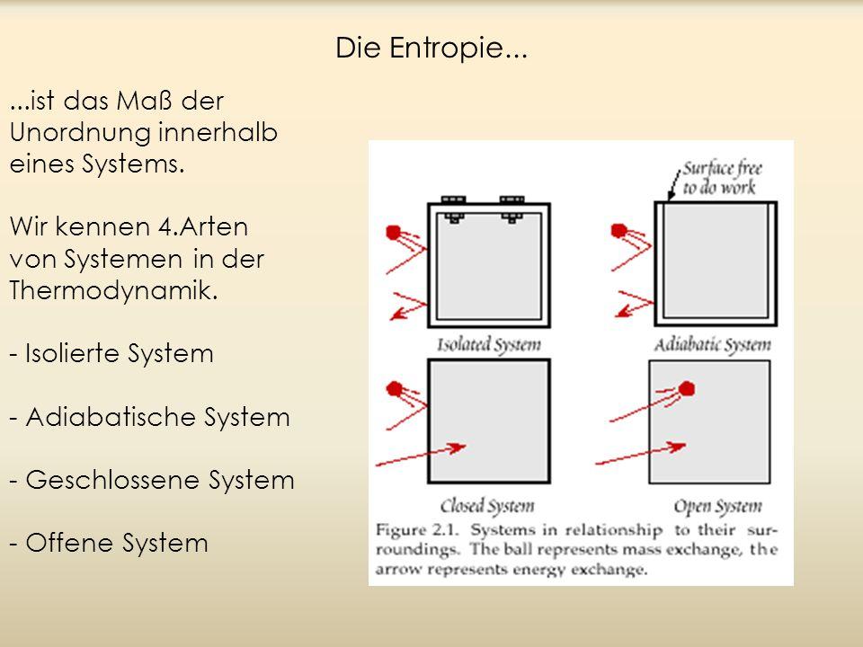 Die Entropie......ist das Maß der Unordnung innerhalb eines Systems. Wir kennen 4.Arten von Systemen in der Thermodynamik. - Isolierte System - Adiaba
