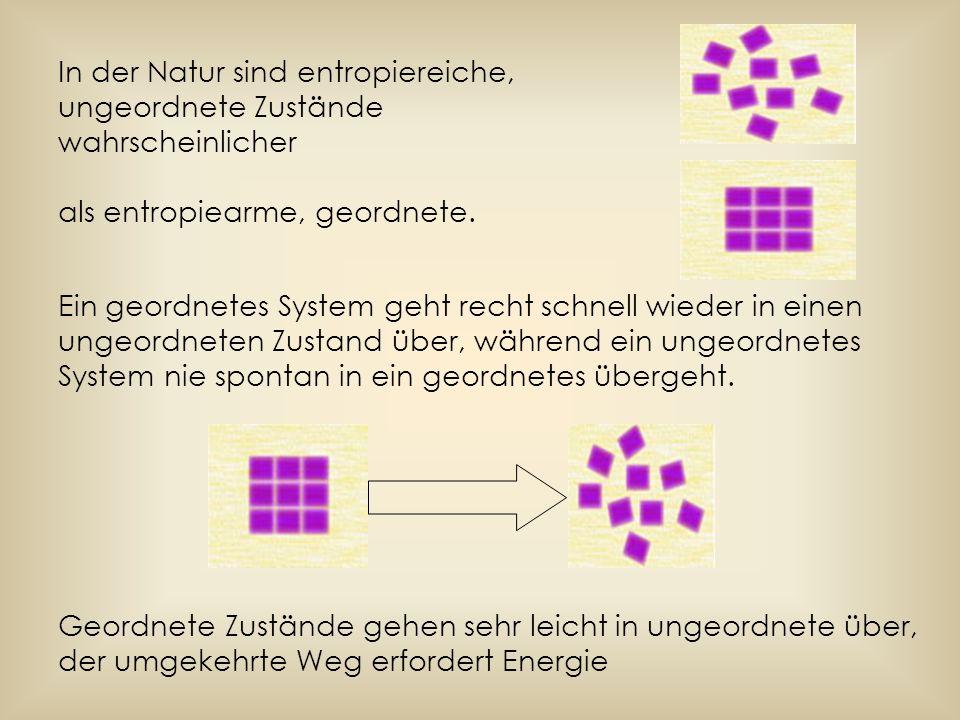 In der Natur sind entropiereiche, ungeordnete Zustände wahrscheinlicher als entropiearme, geordnete. Ein geordnetes System geht recht schnell wieder i