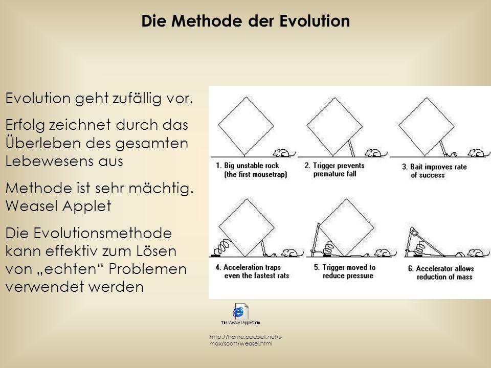 Die Methode der Evolution Evolution geht zufällig vor. Erfolg zeichnet durch das Überleben des gesamten Lebewesens aus Methode ist sehr mächtig. Wease