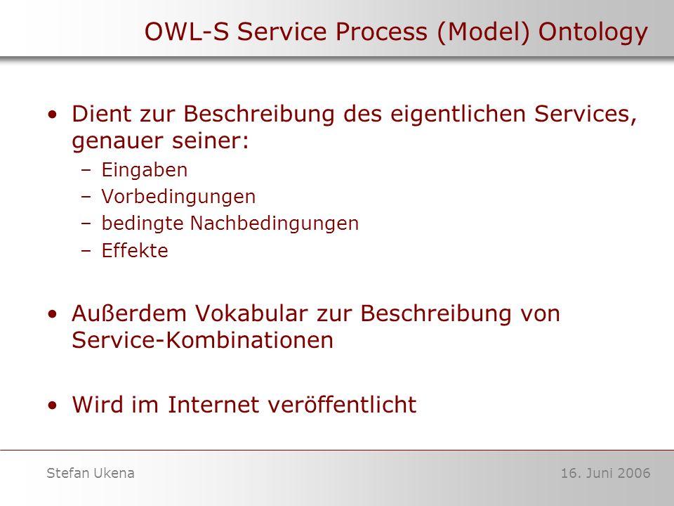 16. Juni 2006Stefan Ukena OWL-S Service Process (Model) Ontology Dient zur Beschreibung des eigentlichen Services, genauer seiner: –Eingaben –Vorbedin