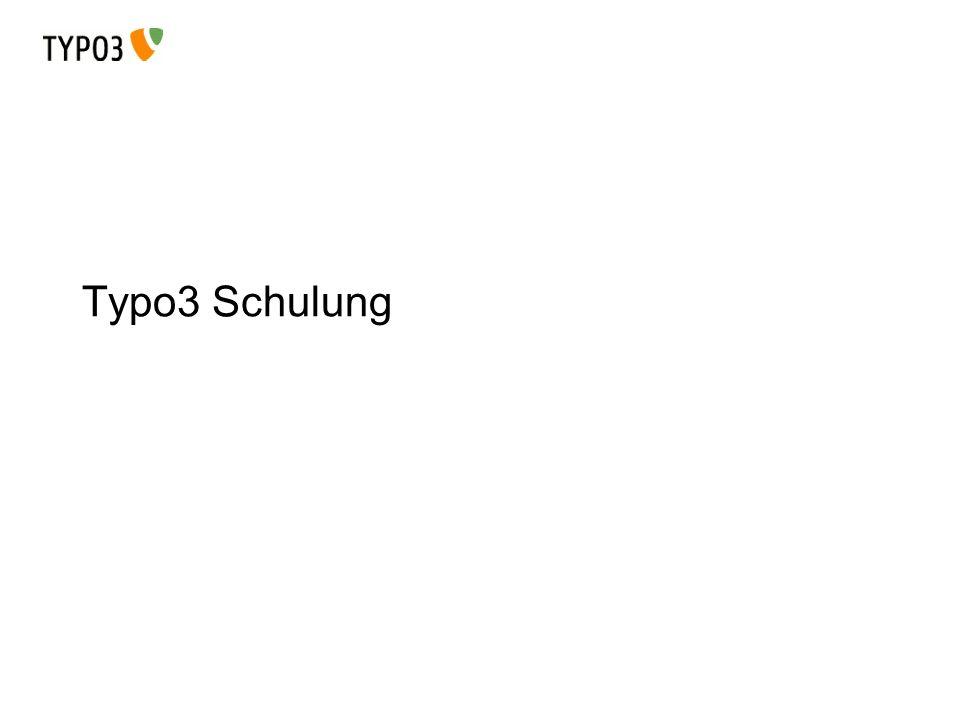 Schulung für Redakteure Modulansicht Stellt die Funktionen zum Arbeiten bereit: Page: Inhalte auf einer Seite anzeigen View: Vorschau-Version im Arbeitsbereich List: Seitenbaum anzeigen Info: Informationen zur Seite (Größe, Elemente, etc) Filelist: Verwalten von Dokumenten in Typo3
