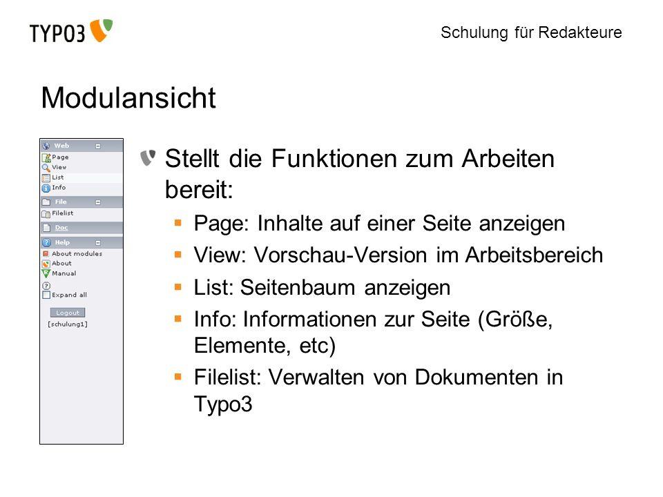Schulung für Redakteure Modulansicht Stellt die Funktionen zum Arbeiten bereit: Page: Inhalte auf einer Seite anzeigen View: Vorschau-Version im Arbei